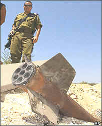 Qassam rocket in Sderot
