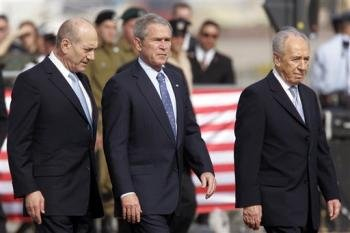 PM Olmert, Pres. Bush, and Pres. Peres