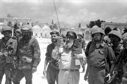 Rav Goren at the Temple Mount, June 7, 1967