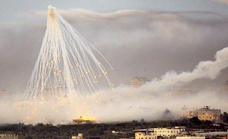White phosphorous over Gaza