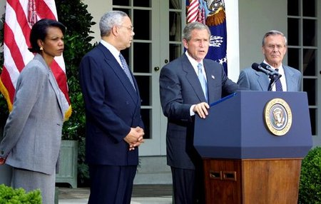 Preident George W. Bush delivers his Rose Garden speech on the Mideast, June 24, 2002