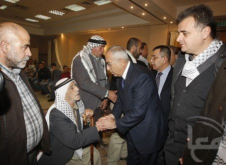Moderate Palestinian PM Salam Fayyad pays condolences to families of murderers in Nablus. -- Maan News