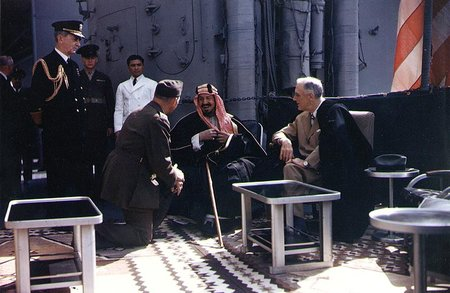 President Roosevelt meets King Ibn Saud in 1945, on the deck of the USS Quincy. Palestine was the subject of discussion.