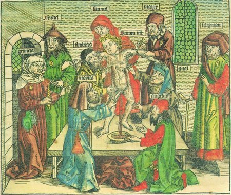 An artist's conception of the death of Simon of Trent at the hands of Jews in 1475