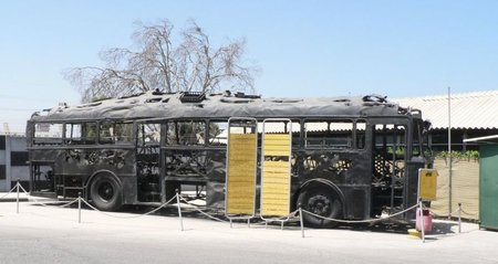 The charred remains of the Bus of Blood