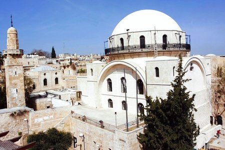 The newly rebuilt Hurva Synagogue in the Jewish Quarter of East Jerusalem