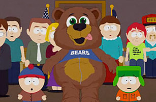 Mohammad in a bear suit on South Park