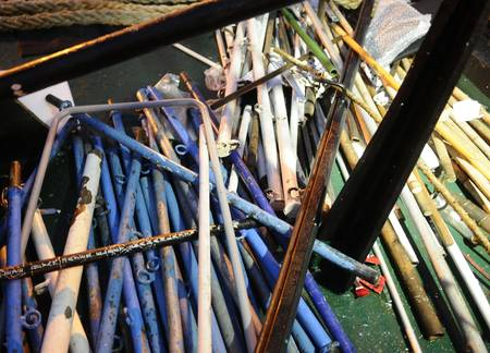 A pile of the metal pipes used to club the commandos