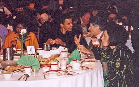 Michelle and Barack Obama with Edward Said and his wife Mariam at a 1998 event in Chicago -- from Electronic Intifada.