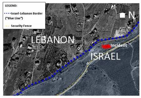 IDF map showing the area between the security fence and the international border where the incident took place (IDF Spokesperson blog).