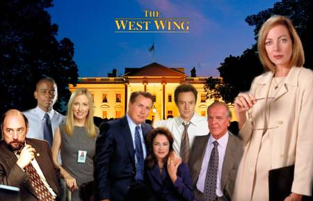 The West Wing cast. CJ Cregg (Allison Janney) is on the right.