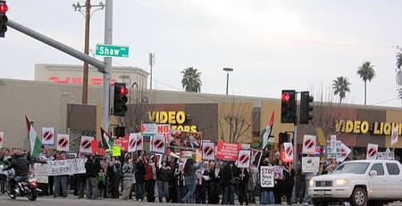 A small portion of the pro-Hamas demonstrators in Fresno, January 2009