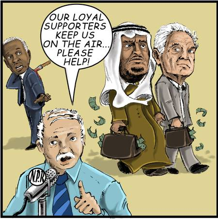 Bin Talal and Soros earn their official Car Talk coffee mugs