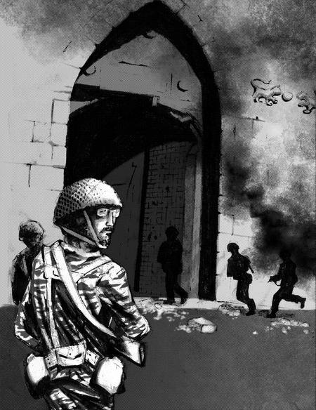 Israelis enter the Old City by the Lions Gate, 1967 (illustration: Judah Rosenthal)