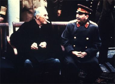 "FDR meets ""Uncle Joe"" Stalin (probably Teheran 1943)"