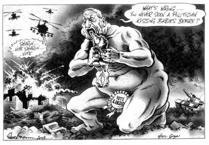 "This drawing by UK cartoonist Dave Brown won the Political Cartoonist Society's ""Cartoon of the year"" prize in 2003."