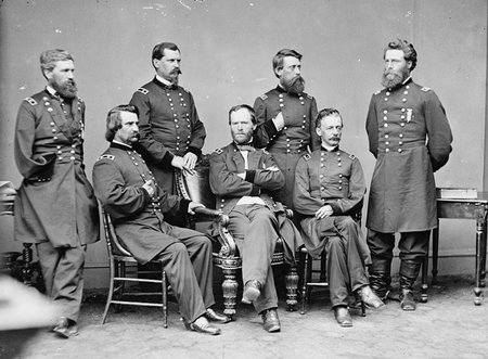 General William Tecumseh Sherman (seated, center) with staff