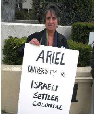 Vida Samiian demonstrates against the presence of Israeli academic Ronen Cohen at a conference of the International Society for Iran Studies in Santa Monica last year.
