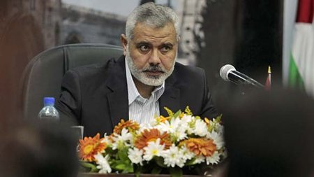 Hamas PM Ismail Haniyya at a press conference in Gaza called to denounce the killing of Osama bin Laden