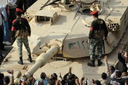 An Egyptian Abrams tank in Tahrir Square.
