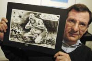 Tim Benson, president of the Political Cartoon Society, holds offensive cartoon. Benson, who is Jewish, claims to be mystified by the controversy.