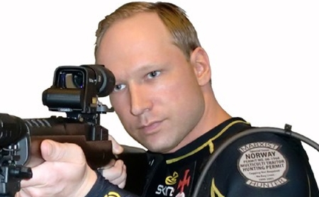 "Anders Breivik (from his manifesto). The badge declares itself a ""multiculti traitor hunting permit"""