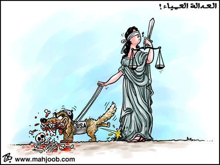 Cartoon from Falk's blog, showing Jewish-American dog chewing on a child's bones while urinating on 'Justice'