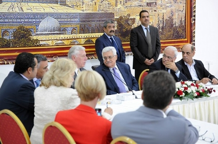Palestinian President Abbas meets with U.S. Congressional Delegation in Ramallah yesterday. Rep. Steny Hoyer (D-MD) is speaking to Abbas.