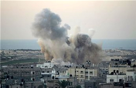 PRC target in Rafah, northern Gaza strip, burns after being hit by IAF