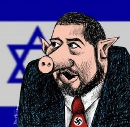 Caricature of Avigdor Lieberman as a Nazi pig, displayed in an Egyptian demonstration