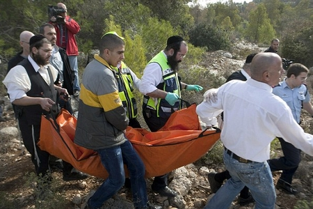 Police and Zaka volunteers remove the body of murdered American tourist Kristine Luken, December 18, 2010