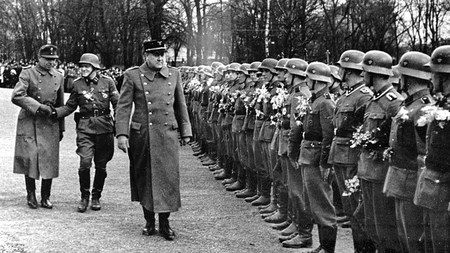 Norwegian fascist Vidkun Quisling inspects Norwegian Legion troops, in pre- 'moral superpower' days