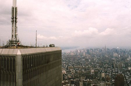 TV transmission antenna on the North Tower of the World Trade Center
