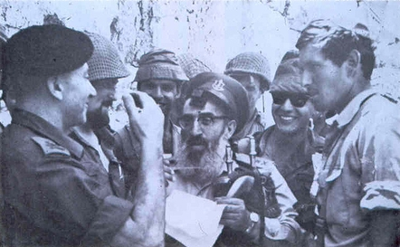 IDF Chief Rabbi Shlomo Goren (center),with General Uzi Narkiss (left) at the Western Wall, June 7, 1967