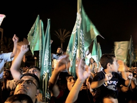 "Hamas supporters celebrate their ""historic victory"""