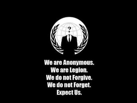 "Logo of the ""anonymous"" hackers. Do their mothers know what they're doing instead of their school homework?"