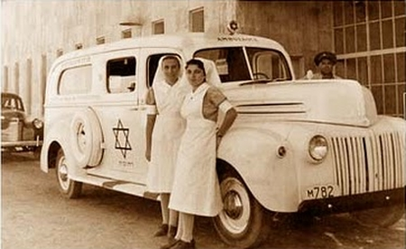 A Magen David Adom ambulance, 1940's