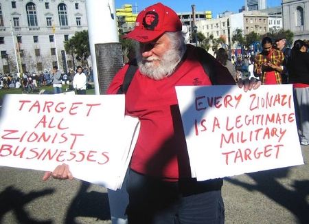 "An ""anti-Zionist"" demonstrates in San Francisco, 2009. No Jew-hatred here!"