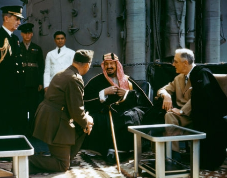 "Roosevelt meets Ibn Saud, 1945. ""Give them Germany,"" he said."