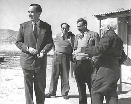 Edward R. Murrow at Sde Boker, Israel in 1956 (l-r: Murrow, Itzhak Navon, Moshe Pearlman, David Ben Gurion).