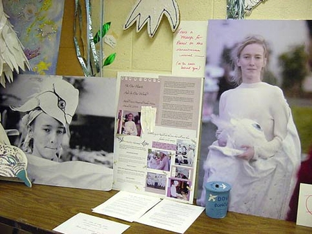 Shrine to St. Rachel Corrie at an Olympia art studio