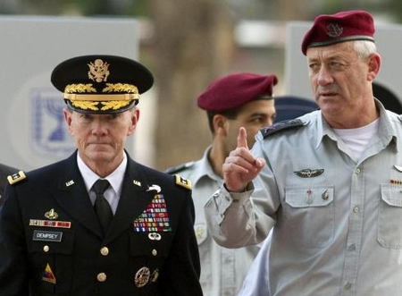 US JCS Chairman Gen. Martin Dempsey visiting Yad Vashem with Israeli Chief of Staff Lt. Gen. Benny Gantz in April