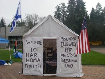 "'Israeli settlement' built on Evergreen campus by ""TESC Divest!"" student group"