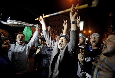 Gaza Arabs celebrate their success after ceasefire is announced