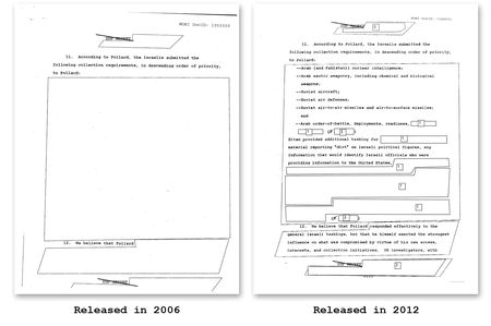 Highly redacted CIA document about Jonathan Pollard case. Click for larger version.