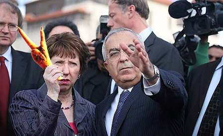 EU Foreign Policy chief Catherine Ashton with former Palestinian PM Salam Fayyad. Courtesy Jewish Press