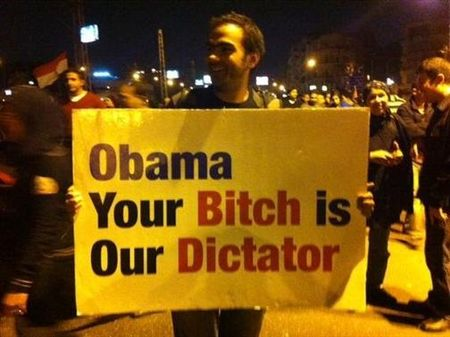 Egyptian demonstrator sends a message about US support of Morsy