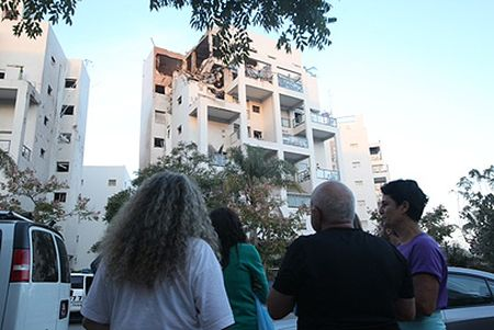 A building in central Israel hit by a Hamas long-range missile launched from Gaza last November
