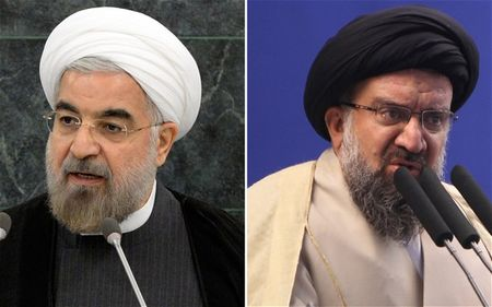 You can tell the 'good guys' because they wear the white turbans. Hassan Rouhani (l) and Ayatollah Ahmad Khatami.