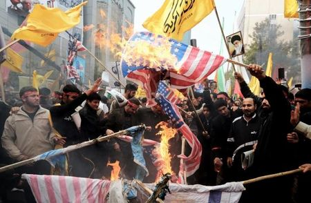 "Iranians celebrate anniversary of 1979 takeover of US embassy by burning flags, shouting ""Death to America"" earlier this month."